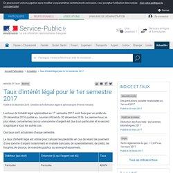 Barème -Taux d'intérêt légal pour le 1er semestre 2017