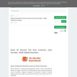 Bank Of Baroda Toll Free Customer Care Number - BOB Helpline Number