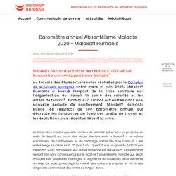 Baromètre annuel Absentéisme Maladie 2020 - Malakoff Humanis - Newsroom Malakoff Humanis