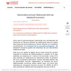 Baromètre annuel Télétravail 2021 de Malakoff Humanis / Malakoff Humanis, février 2021