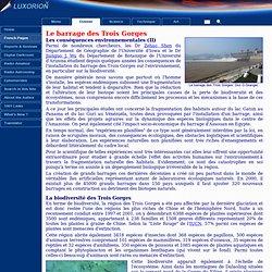 Le barrage des Trois Gorges sur le Yangtsé - Ecologie