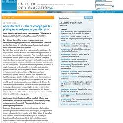 890.n°890 - Anne Barrère: «On ne change pas les pratiques enseignantes par décret»