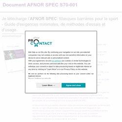 AFNOR SPEC S70-001 - Masques barrières pour le sport
