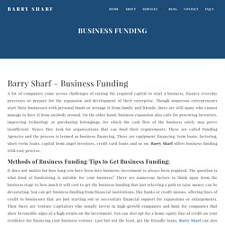 Barry Sharf Business Funding - Get Funding to Improve Your Business Now