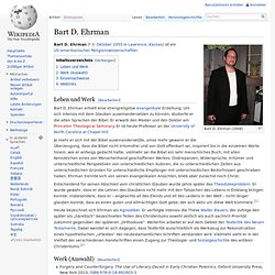 Bart D. Ehrman, Bibelforscher