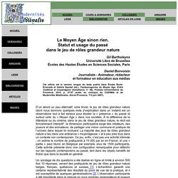 G. Bartholeyns et D. Bonvoisin : Moyen Age et JdR GN
