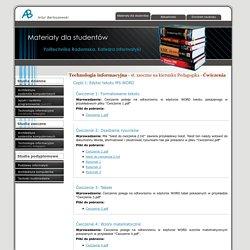 Artur Bartoszewski - materiały dla studentów - Technologia informacyjna