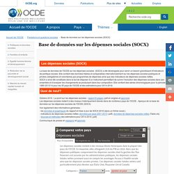 Base de données sur les dépenses sociales (SOCX)