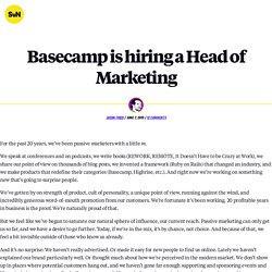 Basecamp is hiring a Head of Marketing - Signal v. Noise