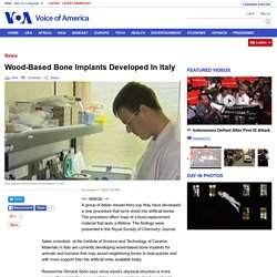 Wood-Based Bone Implants Developed In Italy