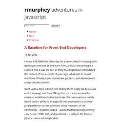 A Baseline for Front-End Developers