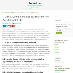 11 Do's & Don'ts For Sales Teams From The Guy Being Sold To