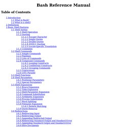 Bash Reference Manual