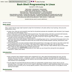 Bash Shell Programming in Linux