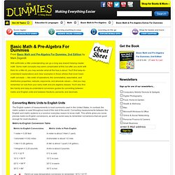 Basic Math & Pre-Algebra For Dummies Cheat Sheet