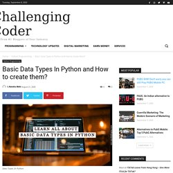 Basic Data Types In Python and How to create them? - %