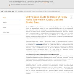 CRIF's Basic Guide To Usage Of Policy Rules: Old Wine In A New Glass by Atrideb Basu