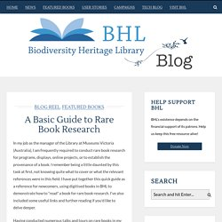 A Basic Guide to Rare Book Research