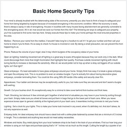 Basic Home Security Tips