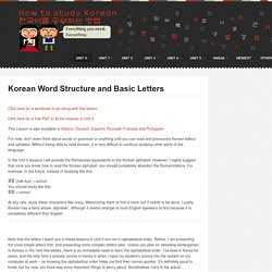 Basic Letters and Korean Word Structure