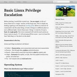 Basic Linux Privilege Escalation - g0tmi1k