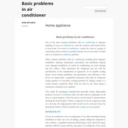 Basic problems in air conditioner