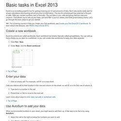 Basic tasks in Excel 2013 - Excel
