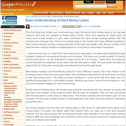 Basic Understanding of Hard Money Loans