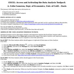 EXCEL 2007 Basics: Access and Activating Data Analysis Add-in