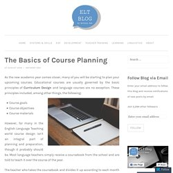 The Basics of Course Planning