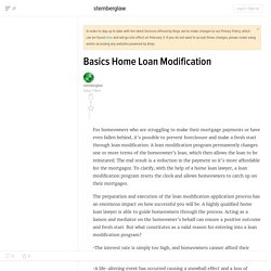 Basics Home Loan Modification