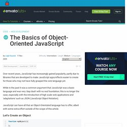 The Basics of Object-Oriented JavaScript