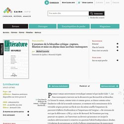 L'aventure de la bâtardise critique: rupture, filiation et mise en abyme dans Les Faux-monnayeurs