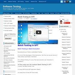 Batch Testing in UFT