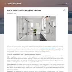 Tips for Hiring Bathroom Remodeling Contractor