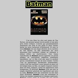 BATMAN - analyse du film de Tim Burton