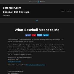 Baseball Bat Reviews - What Baseball Means to Me