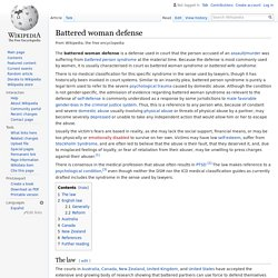Battered woman defense - Wikipedia