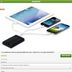 1 ou 2 batteries externes powerbar 9000 mha avec 1 câble 3 en 1 en option dès 29,90 €