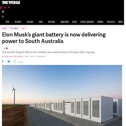 Elon Musk's giant battery is now delivering power to South Australia
