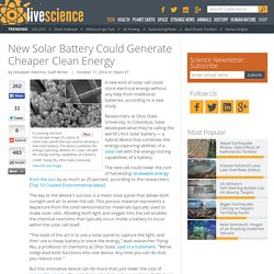 New Solar Battery Could Generate Cheaper Clean Energy