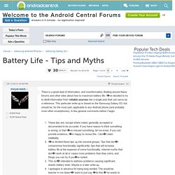 Battery Life - Tips and Myths