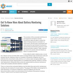 Get To Know More About Battery Monitoring Solutions