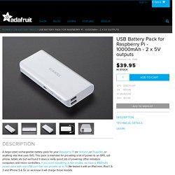 USB Battery Pack for Raspberry Pi - 10000mAh - 2 x 5V outputs ID: 1566 - $39.95