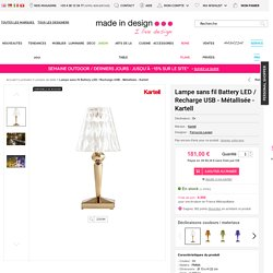 Lampe sans fil Battery LED / Recharge USB - Métallisée Or - Kartell