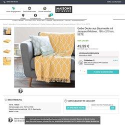 Gelbe Decke aus Baumwolle mit Jacquard-Motiven, 160 x 210 cm, SETE