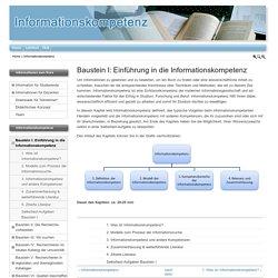 Baustein I: Einführung in die Informationskompetenz
