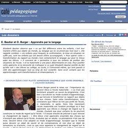 E. Bautier et O. Burger : Apprendre par le langage