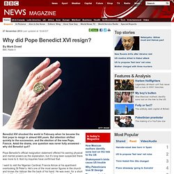 Why did Pope Benedict XVI resign?