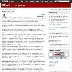 The Editors: Wikipedia edit